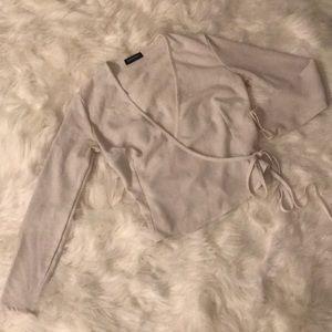 American Apparel Long Sleeve side tie top
